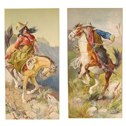 Two Early Litho Cowboy and Cowgirl Embossed Paper Prints