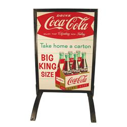 Coca Cola Tin/Iron Sidewalk Advertising Sign