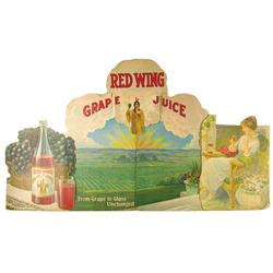 Red Wing Grape Juice Die Cut Cardboard Advertising Window Display