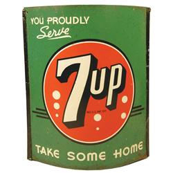 Seven-up Advertising String Holder. Two sided tin