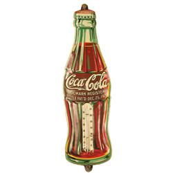 Coca Cola Embossed Tin Bottle Advertising Thermometer