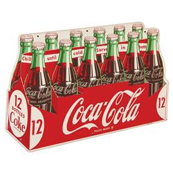 Coca Cola Twelve Pack Die Cut Tin Advertising Sign