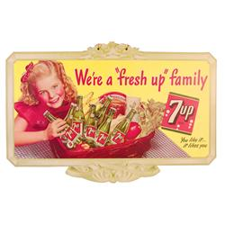 Early 7-Up Cardboard Die Cut String Hanger Advertising Sign