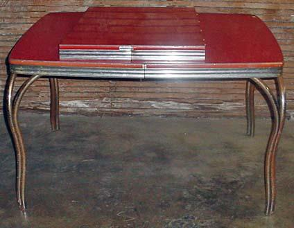 VINTAGE RETRO RED FORMICA AND CHROME TABLE W/ 2 LE. Loading Zoom