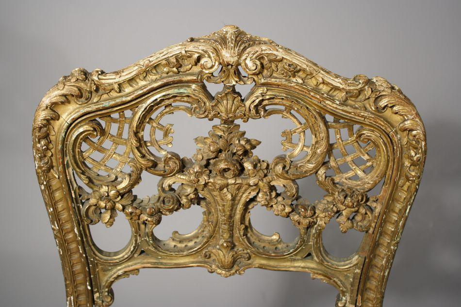 Image 2 : A Louis XV French Rococo Carved And Gilt Side Chair.