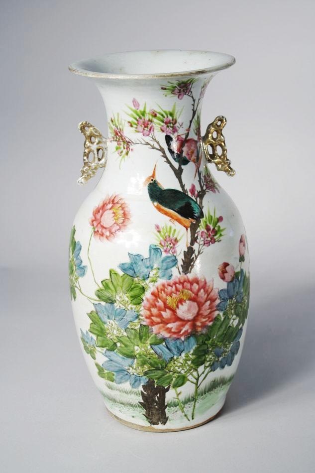 A 19th Century Chinese Porcelain Vase With Bird And Flower Decoration