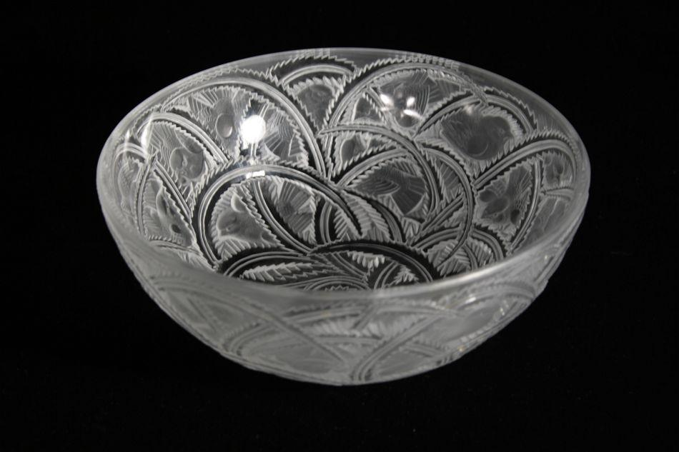 A Rene Lalique Pinsons Bird And Fern Bowl French Ca 1965