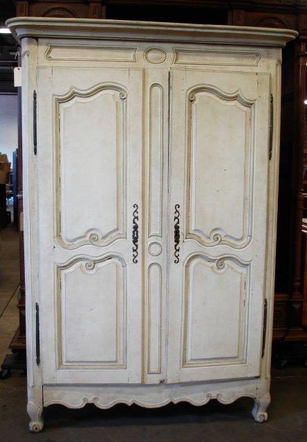 18th c. off white armoire