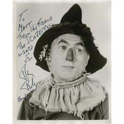 Ray Bolger inscribed photograph as Scarecrow from The Wizard of Oz