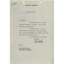 Marlon Brando typed letter signed