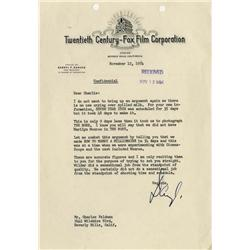 Darryl Zanuck typed letter regarding Billy Wilder
