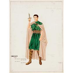 Edward Stevenson costume design sketch for Gregory Peck in David and Bathsheba