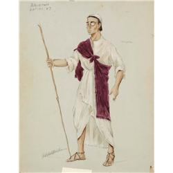 Adele Balkan costume sketch for Peter Ustinov from The Egyptian