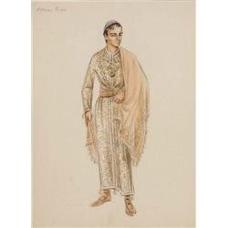 Adele Balkan costume sketch for Edmund Purdom from The Egyptian
