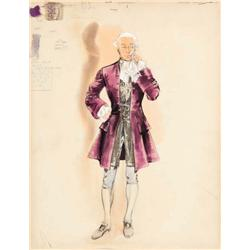 Walter Plunkett costume sketch for George Sanders from Moonfleet