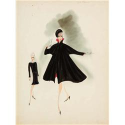 Helen Rose costume sketch for Edie Adams from Made in Paris
