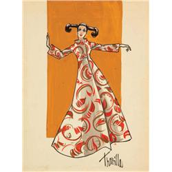 Travilla costume sketch for Barbara Parkins from Valley of the Dolls