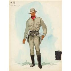 Santiago costume sketch for Jim Brown from 100 Rifles