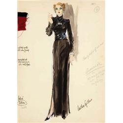 Anthea Sylbert costume sketch for Jane Fonda from Julia