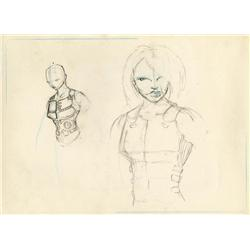 Concept design sketches for Angelina Jolie in Mr. and Mrs. Smith