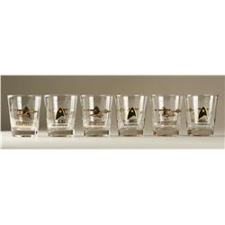 Set of six Star Trek: TOS crew gift cocktail glasses from Christmas 1966