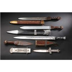 Group of five short swords from Spartacus, Cleopatra, Time Tunnel and The Greatest Story Ever Told