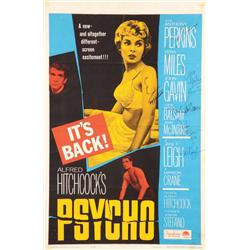 Psycho one-sheet poster signed by Alfred Hitchcock, Janet Leigh, Anthony Perkins and others
