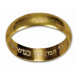 Gold-plated brass ring with Hebrew inscription from Schindler's List, presented  to Liam Neeson
