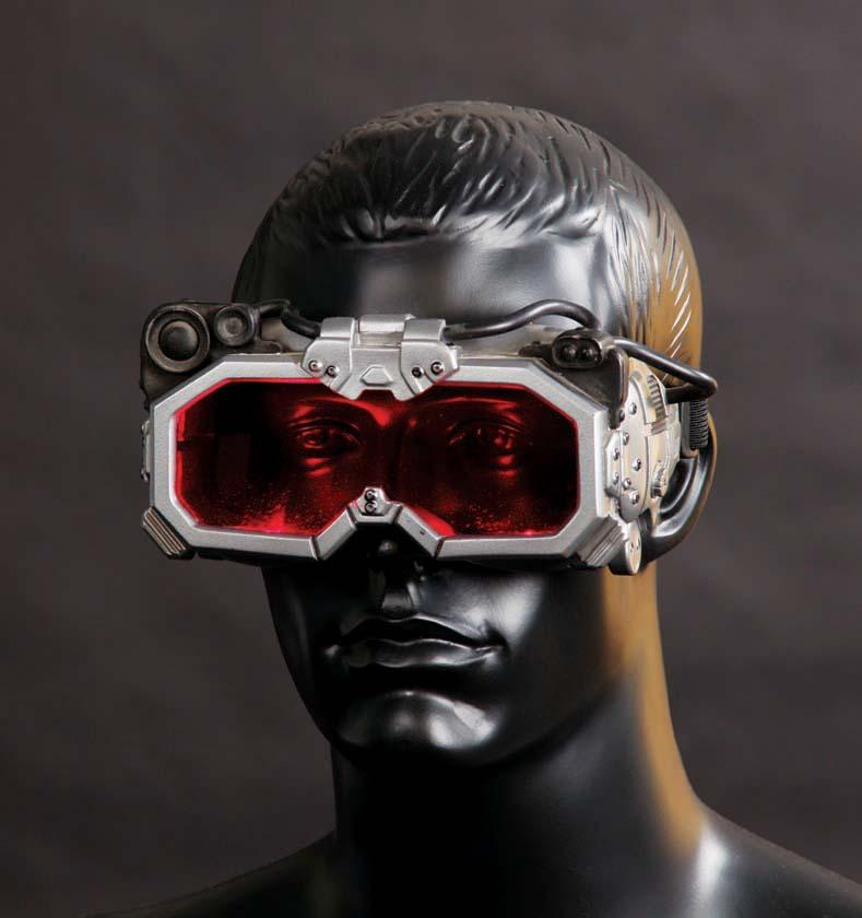 A bust of a man wearing large, futuristic looking goggles.