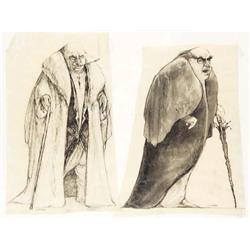 "Mark ""Crash"" McCreery pair of Danny Devito ""The Penguin"" concept drawings from Batman Returns"