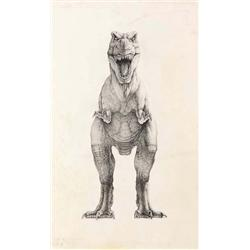 "Mark ""Crash"" McCreery T-Rex front view artwork from Jurassic Park"