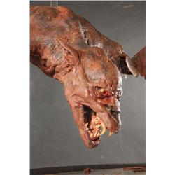 Large vampire bat poseable armature and werewolf head from Fright Night
