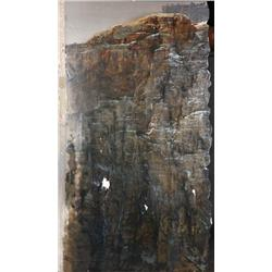 Large three-panel matte painting of Stallone climbing mountain from Cliffhanger