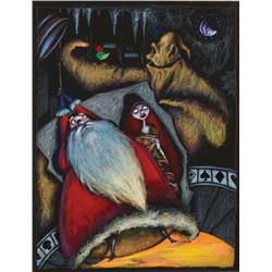 Original concept artwork for Oogie Boogie, Sally and Santa from The Nightmare Before Christmas