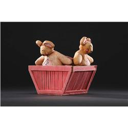 Pair of teddy bears in crate from The Nightmare Before Christmas