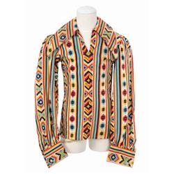 "Michael Jackson Aztec print collared pullover shirt from 1972 worn while singing ""Got To Be There"""