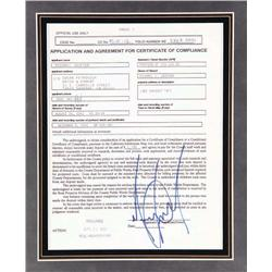 Original Michael Jackson signed certificate of compliance for Neverland Ranch