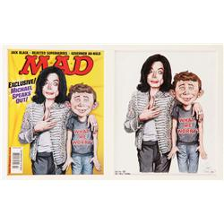 Drew Friedman MAD magazine cover art featuring Michael Jackson with his arm around Alfred E. Newman
