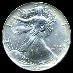 1990 Silver Eagle ICG Top Graded (COI-3833)