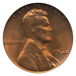 1966 US Lincoln Cent Coin PCGS MS66 Red (COI-4261)
