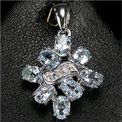 23ct Elegant Real Top Sky Blue Topaz Silver Pendant (JEW-1266)