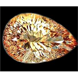 17.33ct Extremely Lustrous Imperial Topaz Concave Cut FLAWLESS (GEM-11642)
