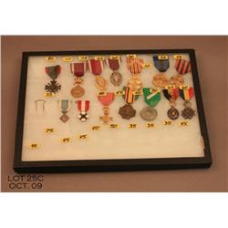 Lot of 14 misc. military metals.  Est. 200 - $300