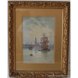 "Watercolor on paper, ""Harbor Scene"", 17""x17"",  French 19th century, signed G Marronier (?) lower  ri"