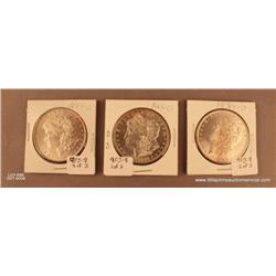 Lot of 3 Morgan Silver dollars. All dated 1884 -  O.  Not professionally graded.  About MS-60 - 63.