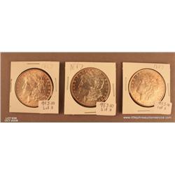 Lot of 3 Morgan Silver dollars dated 1887.  Not  professionally graded.  MS-60 or better.  Est.  $10
