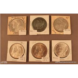 Lot of 6 Morgan Silver dollars.  Assorted dates.   Not professionally graded.  1 exceptional 1886  (