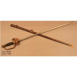 "Fancy hilt Model 1860 style officers sword and  metal scabbard, approx. 38"" overall.  The etched  bl"
