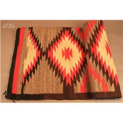 "Navajo Eye Dazzler pattern, 63""x43"" inch, textile  weaving, all naturals with annaline red, shows  f"