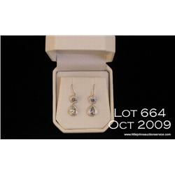 Very high quality 10 karat white gold ladies drop  design earrings set with a combination of  Aquama